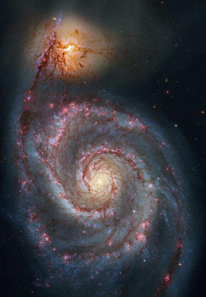 whirlpool nebula,whirlpool galaxy,canes venatici,spiral galaxy